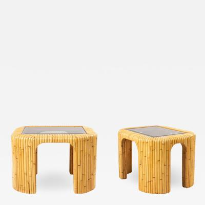 Pair of 2 Contemporary Rattan and Smoked Glass End Tables