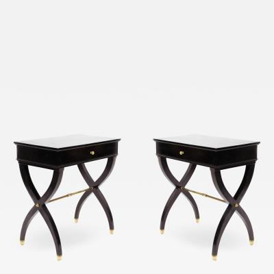 Pair of 2 French Mid Century Black Lacquer End Tables