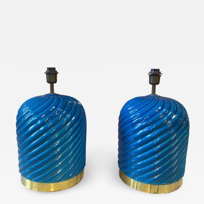Pair of 2 Mid Century Blue and Brass Table Lamp Italy 1980s