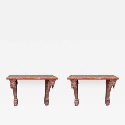 Pair of 20th C Italian Baroque Faux Marble Console Tables