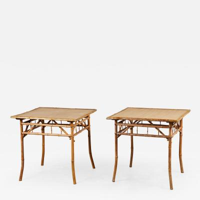 Pair of 20th C Square Bamboo Danish Side Tables