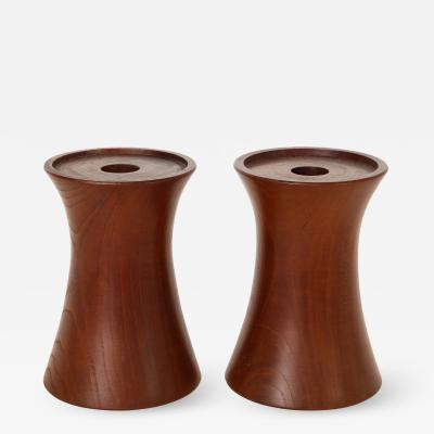 Pair of 20th Century Cherrywood Candle Holders Lucca and Co