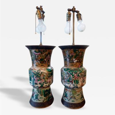 Pair of 20th Century Famille Verte Chinese Porcelain Lamps