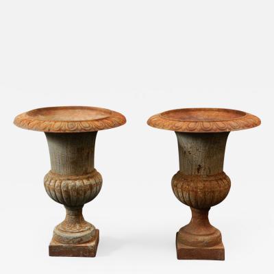 Pair of 20th Century French Iron Urns