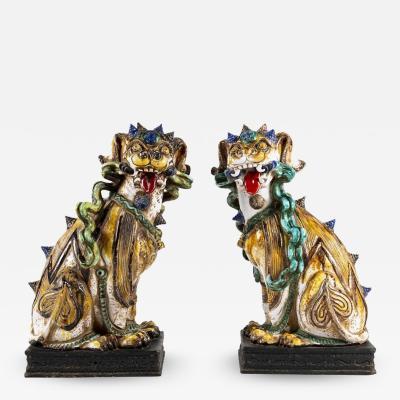 Pair of 20th Century Italian Terra Cotta Fu Dogs