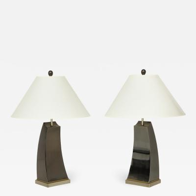 Pair of 20th Century Patinated Metal Lamps Lucca and Co