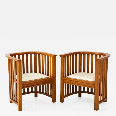 Pair of 20th Century Slatted Cherrywood Chairs
