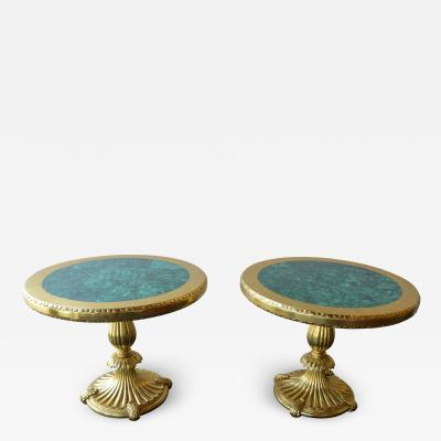 Pair of 22k Gold Tables with Malachite Insert