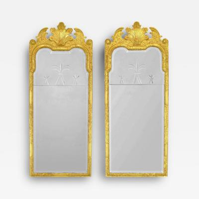 Pair of 24 Karat Water Giltwood and Gesso Italian Trumeau Mirrors