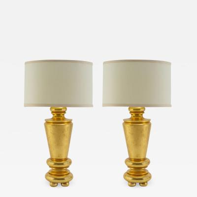 Pair of 24kt Gold Gilded Lamps