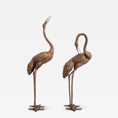 Pair of 4 5 Feet Tall Brass Flamingo or Crane Sculptures