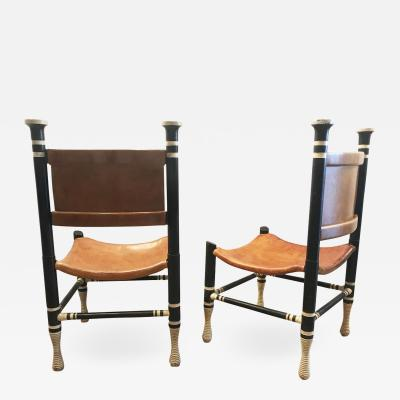 Pair of Accent Wood Leather Chairs
