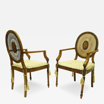 Pair of Adams Style Satinwood Cane Back Armchairs