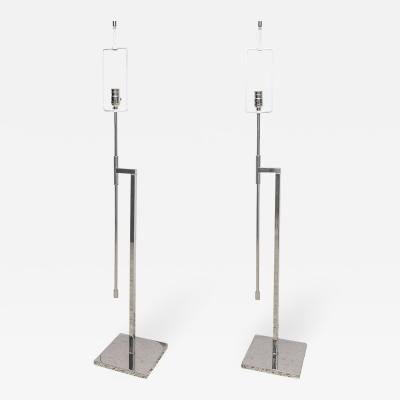 Pair of Adjustable Nickel Plated Floor Lamps Hansen 1960s 70s