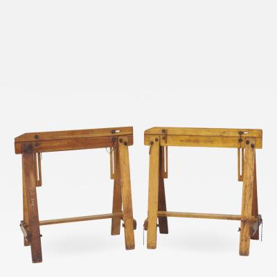 Pair of Adjustable Sawhorses c 1920