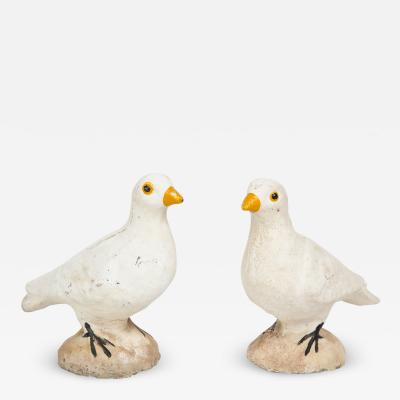 Pair of Adorable Cast Cement Doves