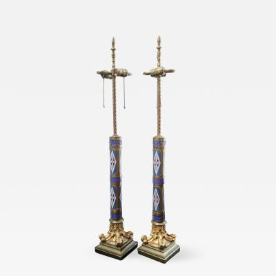 Pair of Aesthetic Movement Cloisonne and Bronze Table Lamps