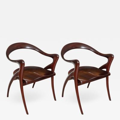 Pair of African Mahogany armchairs