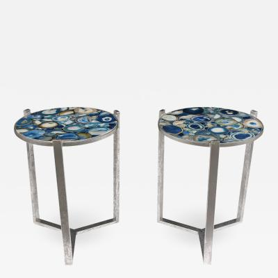 Pair of Agate Stone Side Tables