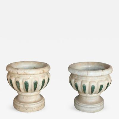 Pair of Aged Macael Marble Hand Carved Planters with Serpentine Green Inlays