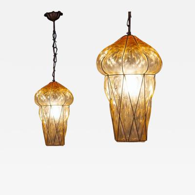 Pair of Amber Color Murano Glass Pendants or Lanterns 1970s