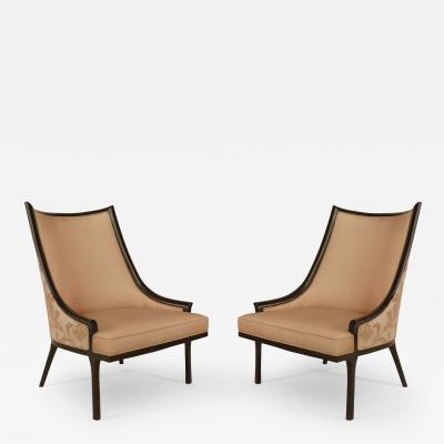 Pair of American 1950s Ebonized Armchairs