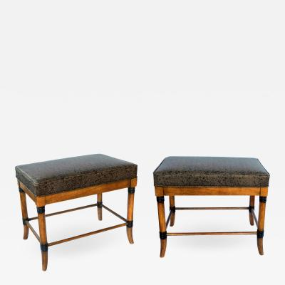 Pair of American 1960s Ash Faux Bamboo Rectangular Stools Benches