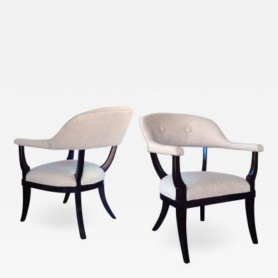 Pair of American 1960s Edward Wormley Style Brown Lacquered Barrel back Chairs