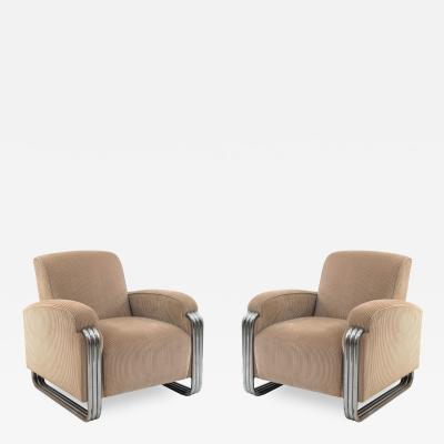 Pair of American Art Deco Arm Chairs