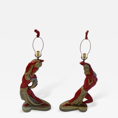 Pair of American Art Deco Lamps