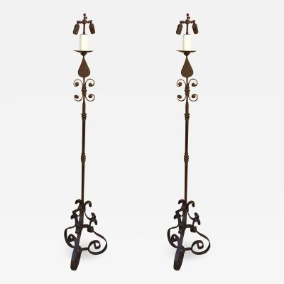 Pair of American Arts and Crafts Wrought Iron Floor Lamps
