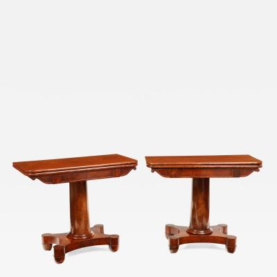 Pair of American Mahogany Tea Tables New York or Boston Circa 1830