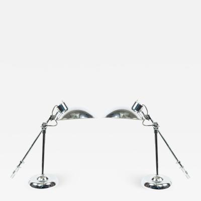 Pair of American Mid Century Chrome Metal Desk Lamps