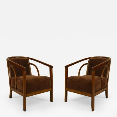 Pair of American Mid Century Dark Stained Beechwood Diminutive Armchairs