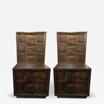 Pair of American Mid Century Mahogany Bedside Tables Commodes