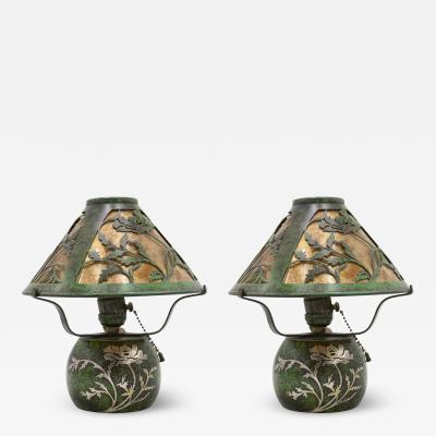 Pair of American Mission Heintz Art Metal Table Lamps