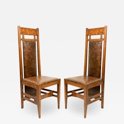 Pair of American Mission Oak Leather Side Chairs
