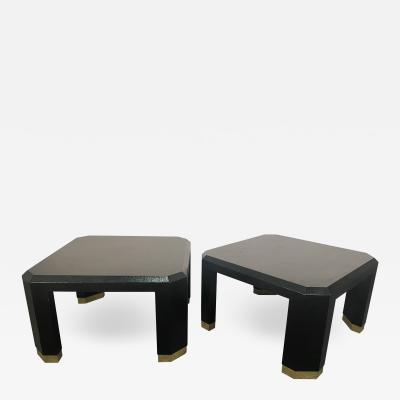 Pair of American Modern Black Lacquer Linen Brass Occasional Low Tables Ron Seff