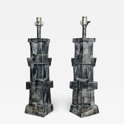 Pair of American Modern Glazed Ceramic Brutalist Table Lamps