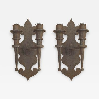 Pair of American Renaissance Revival Iron Torch Wall Sconces