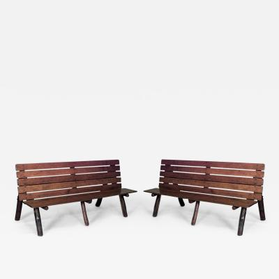 Pair of American Rustic Old Hickory Metamorphic Picnic Tables Benches