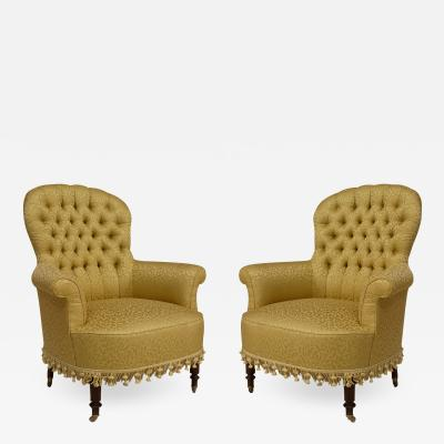 Pair of American Victorian Green Arm Chairs