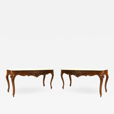 Pair of American Victorian Mahogany Marble Console Table