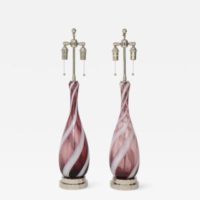 Pair of Amethyst Murano Glass Candy Striped Lamps