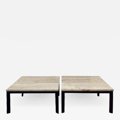 Pair of Angular Leg Coffee Tables with Travertine Tops 1950s