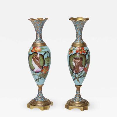 Pair of Antique Art Nouveau Enamels Vases 1900 France