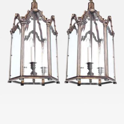 Pair of Antique Bronze Lanterns