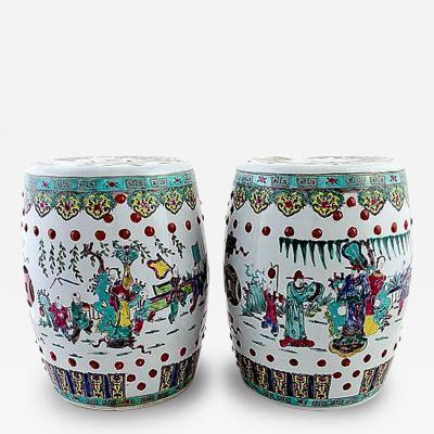 Pair of Antique Chinese Ceramic Garden Stools