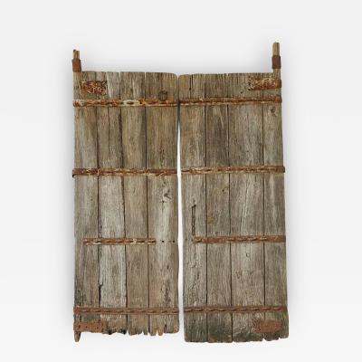 Pair of Antique Chinese Oak Gate Doors