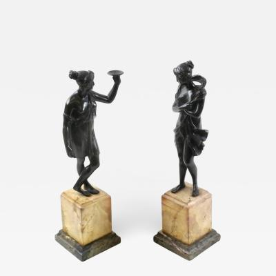 Pair of Antique Classical Bronze Sculptures on Italian Marble Bases Grand Tour